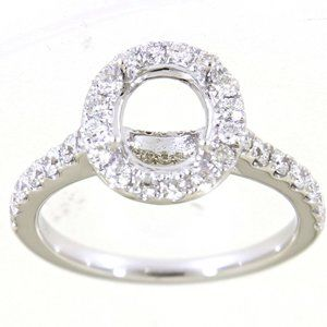 Semi Mount Halo Diamond Engagement Ring White Gold